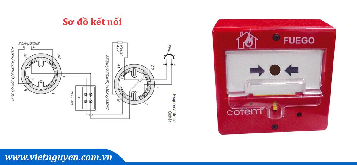 Đấu dây nút nhấn khẩn báo cháy tựu động hệ thường Cofem